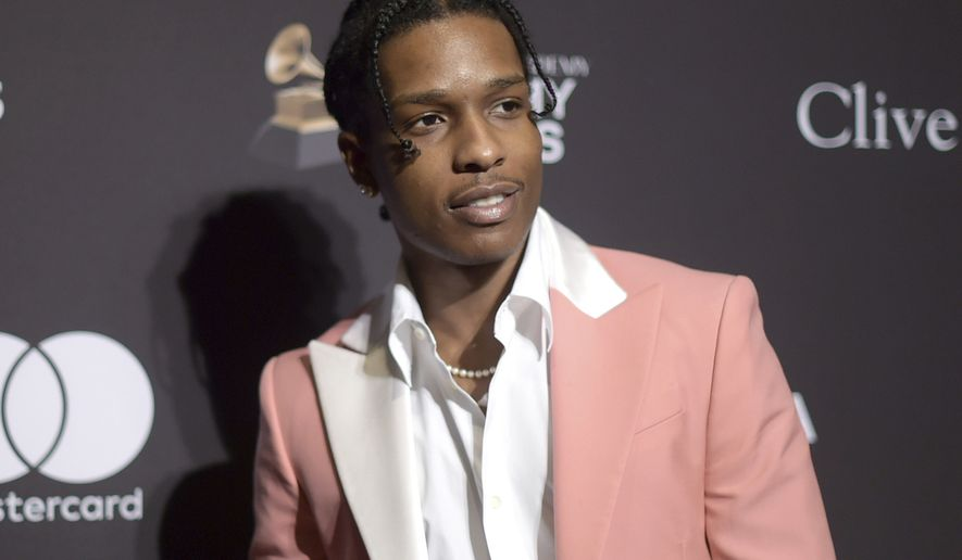 This Feb. 9, 2019 file photo shows A$AP Rocky at Pre-Grammy Gala And Salute To Industry Icons in Beverly Hills, (Photo by Richard Shotwell/Invision/AP, File) **FILE**