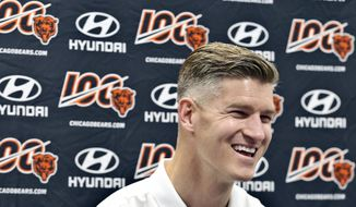 "Chicago Bears general manager Ryan Pace talks with media during an NFL football news conference Sunday, July 21, 2019, during a ""Return to Decatur"" at the Decatur Civic Center in Decatur, Ill., to celebrate the team's origins. (Clay Jackson /Herald & Review via AP)"