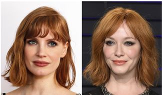 """This combination photo shows actress Jessica Chastain at an exclusive fan event for """"X-MEN: Dark Phoenix"""" in London on May 22, 2019, left, and actress Christina Hendricks at the Vanity Fair Oscar Party in Beverly Hills, Calif. on Feb. 24, 2019. Hendricks says she has been mistaken for Oscar nominee Chastain. (AP Photo)"""