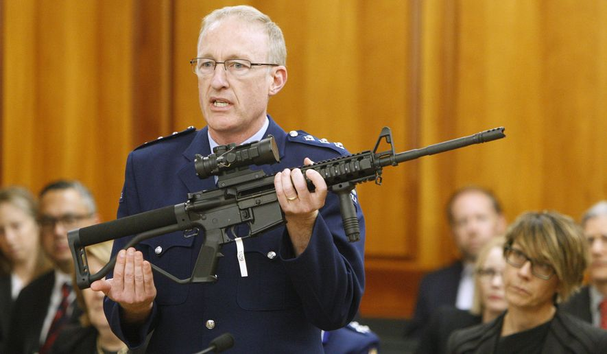 In this April 2, 2019, file photo, police acting superintendent Mike McIlraith shows New Zealand lawmakers an AR-15 style rifle similar to one of the weapons a gunman used to slaughter 51 people at two mosques, in Wellington, New Zealand. New Zealand's government is planning further restrictions on gun ownership in a proposed law that emphasizes owning guns is a privilege and not a right. (AP Photo/Nick Perry, File)