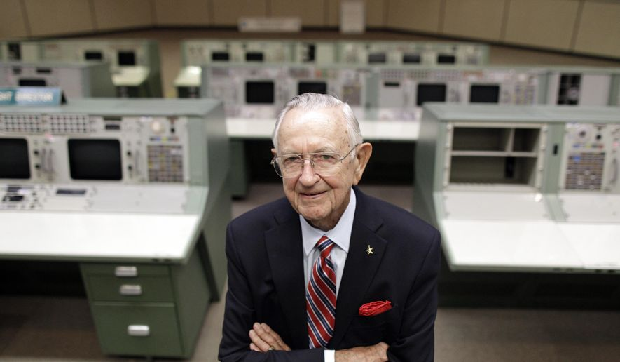 This Tuesday, July 5, 2011, file photo shows NASA Mission Control founder Chris Kraft in the old Mission Control at Johnson Space Center in Houston. Kraft, the founder of NASA's mission control, died Monday, July 22, 2019, just two days after the 50th anniversary of the Apollo 11 moon landing. He was 95. (AP Photo/David J. Phillip, File)