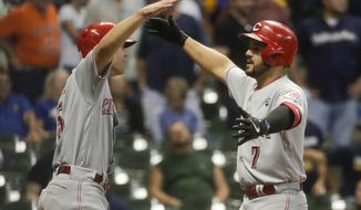 Cincinnati Reds' Eugenio Suarez celebrates his two-run home run with Nick Senzel during the ninth inning of a baseball game against the Milwaukee Brewers Monday, July 22, 2019, in Milwaukee. (AP Photo/Morry Gash)