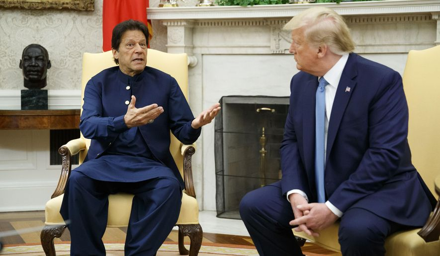 Pakistani Prime Minister Imran Khan speaks during a meeting with President Donald Trump in the Oval Office of the White House, Monday, July 22, 2019, in Washington. (AP Photo/Alex Brandon)