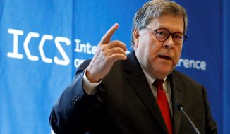 U.S. Attorney General William Barr addresses the International Conference on Cyber Security, hosted by the FBI and Fordham University, at Fordham University in New York, Tuesday, July 23, 2019. (AP Photo/Richard Drew) (ASSOCIATED PRESS)
