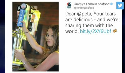 """Jimmy's Famous Seafood, which was targeted by PETA in 2018 for selling crabs, is celebrating the moment by selling a limited run of """"PETA Tears"""" lager. (Image: CBS Baltimore screenshoot via Jimmy's Famous Seafood Twitter feed)"""