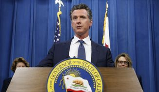 Gov. Gavin Newsom discusses a report detailing efforts by the Department of Motor Vehicles to improve customer services during a news conference in Sacramento, Calif., Tuesday, July 23, 2019. Some of the suggestions are to accept credit cards, upgrade the DMV's website and offer clearer instructions on how to obtain a new federally mandated ID.(AP Photo/Rich Pedroncelli)