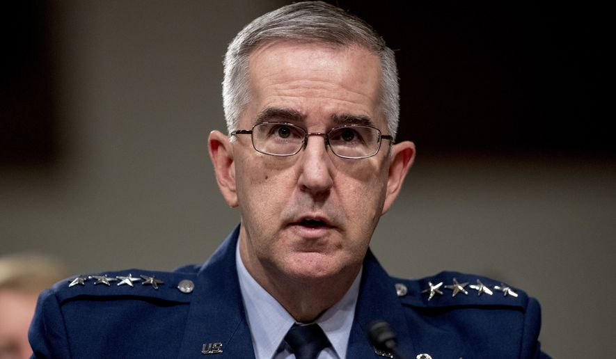 FILE - In this April 11, 2019, file photo, U.S. Strategic Command Commander Gen. John Hyten testifies before a Senate Armed Services Committee hearing on Capitol Hill in Washington. Senators are hearing closed-door testimony about allegations of sexual misconduct against Air Force Gen. John Hyten as they weigh his nomination for vice chairman of the Joint Chiefs of Staff. (AP Photo/Andrew Harnik, File)