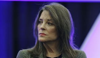 Democratic presidential candidate Marianne Williamson waits to speak at the 110th NAACP National Convention, Tuesday, July 23, 2019, in Detroit. (AP Photo/Carlos Osorio)