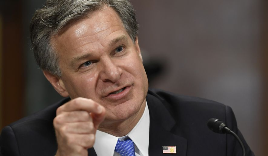 FBI Director Christopher Wray testifies before the Senate Judiciary Committee on Capitol Hill in Washington, Tuesday, July 23, 2019. (AP Photo/Susan Walsh)