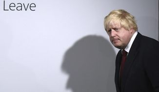 FILE - In this Friday, June 24, 2016 file photo, Vote Leave campaigner Boris Johnson arrives for a press conference at Vote Leave headquarters in London. (Mary Turner/Pool via AP, File)