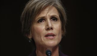 In this May 8, 2017, file photo, former acting Attorney General Sally Yates testifies on Capitol Hill in Washington, before the Senate Judiciary subcommittee on Crime and Terrorism hearing. (AP Photo/Carolyn Kaster, File)  **FILE**