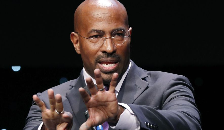 In this Wednesday, Jan. 23, 2019, file photo, REFORM Alliance CEO and political activist Van Jones speaks to participants at the launch of a partnership among entrepreneurs, entertainment moguls, recording artists, and business and sports leaders who hope to transform the American criminal justice system in New York. (AP Photo/Kathy Willens, File)