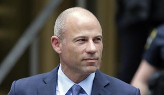 In this May 28, 2019, file photo, California attorney Michael Avenatti leaves a courthouse in New York following a hearing. Avenatti is due to return to a New York court Tuesday, July 23, 2019, to face charges accusing him of cheating porn star Stormy Daniels out of $300,000 in a book deal. (AP Photo/Seth Wenig, File)