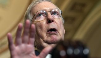 Senate Majority Leader Mitch McConnell, Kentucky Republican, speaks to reporters following the weekly policy lunches on Capitol Hill in Washington on July 23, 2019. (AP Photo/Susan Walsh) **FILE**