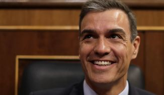 Spain's caretaker Prime Minister Pedro Sánchez arrives at the Spanish parliament in Madrid, Spain, Tuesday, July 23, 2019. Sánchez will seek the endorsement of the Spanish Parliament ahead of this week's confidence votes for him to form a new government. (AP Photo/Manu Fernandez)