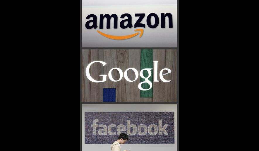 """This file photo combo of images shows the Amazon, Google and Facebook logos. The libertarian-leaning Koch Network is launching a new initiative dubbed """"Stand Together,"""" which aims to stand against efforts within Big Tech companies to restrict speech online, according to Jesse Blumenthal, the initiative's vice president and the Charles Koch Institute's director of technology & innovation.  (AP Photo/File) **FILE**"""