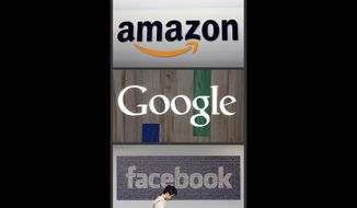 This file photo combo of images shows the Amazon, Google and Facebook logos.  (AP Photo/File) **FILE**
