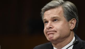 FBI Director Christopher Wray testifies before the Senate Judiciary Committee on Capitol Hill in Washington, Tuesday, July 23, 2019. Wray's appearance before the committee could be something of a preview of the intense questioning special counsel Robert Mueller is likely to face in Congress the next day. (AP Photo/Susan Walsh)