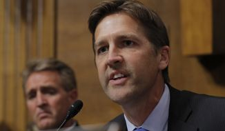 Sen. Ben Sasse, R-Neb., questions Supreme Court nominee Brett Kavanaugh as he testifies before the Senate Judiciary Committee on Capitol Hill in Washington, Thursday, Sept. 27, 2018. (Jim Bourg/Pool Photo via AP)