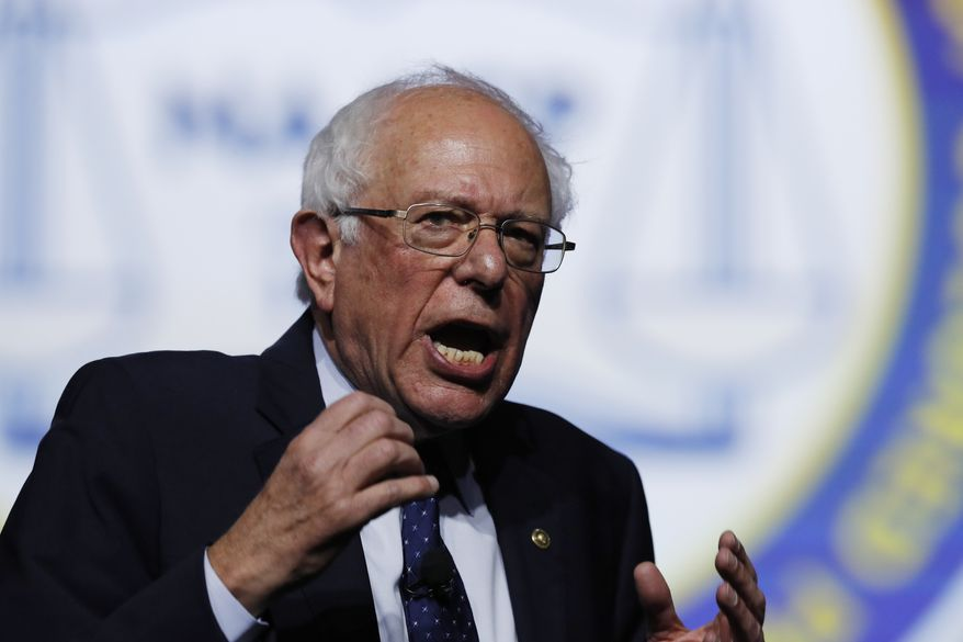 Democratic presidential candidate, Sen. Bernie Sanders, I-Vt., speaks during a candidates forum at the 110th NAACP National Convention, Wednesday, July 24, 2019, in Detroit. (AP Photo/Carlos Osorio)
