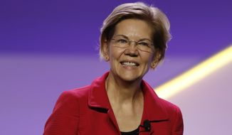 Sen. Elizabeth Warren, D-Mass., speaks during a candidates forum at the 110th NAACP National Convention, Wednesday, July 24, 2019, in Detroit. (AP Photo/Carlos Osorio)