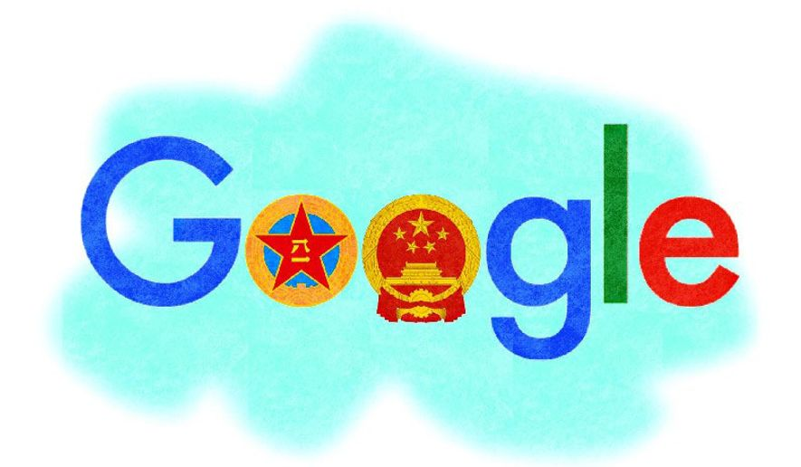 Illustration on Google/China cooperation by Alexander Hunter/The Washington Times