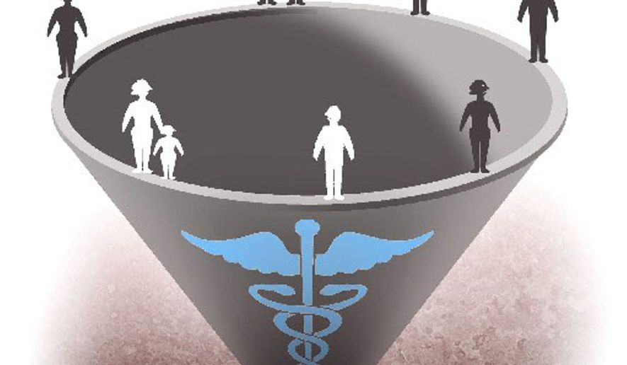 Illustration on single payer health care by Alexander Hunter/The Washington Times