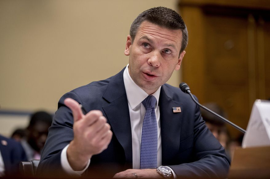 Acting Secretary of Homeland Security Kevin McAleenan speaks at a House Committee on Oversight and Reform hearing on Capitol Hill in Washington, Thursday, July 18, 2019. (AP Photo/Andrew Harnik)