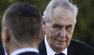 FILE- In this Friday, Sept. 21, 2018 file photo, Czech President Milos Zeman arrives for a meeting with German President Frank-Walter Steinmeier at the Bellevue Palace in Berlin, Germany. The upper house of Czech Parliament has voted Wednesday, July 24, 2019, to bring charges against President Milos Zeman for violating the Constitution.(AP Photo/Markus Schreiber, File)