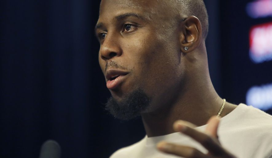 New England Patriots football running back James White speaks to the media, Wednesday, July 24, 2019, in advance of Thursday's opening of the Patriots NFL training camp. (AP Photo/Elise Amendola)