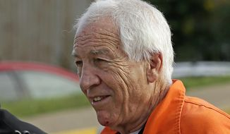 FILE - In this Aug. 12, 2016 file photo, former Penn State University assistant football coach Jerry Sandusky arrives at the Centre County Courthouse in Bellefonte, Pa. Sandusky isn't getting a fresh chance to argue in state court he should get a new trial, seven years after he was convicted of molesting 10 boys. Pennsylvania's Supreme Court on Wednesday, July 24, 2019 turned down the 75-year-old's request it review a Superior Court decision earlier this year that rejected most of Sandusky's arguments. (AP Photo/Gene J. Puskar, File)