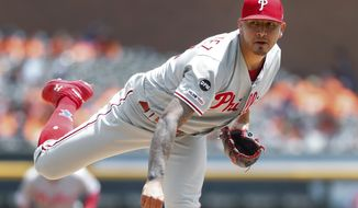 Philadelphia Phillies pitcher Vince Velasquez throws in the third inning of a baseball game against the Detroit Tigers in Detroit, Wednesday, July 24, 2019. (AP Photo/Paul Sancya)