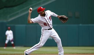 Washington Nationals third baseman Anthony Rendon throws out Colorado Rockies' Trevor Story in the first inning of the first baseball game of a doubleheader, Wednesday, July 24, 2019, in Washington. (AP Photo/Patrick Semansky)  **FILE**