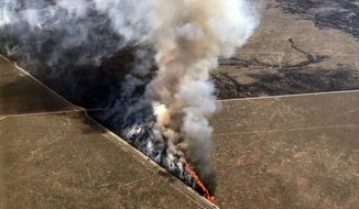 This photo provided by the U.S. Bureau of Land Management (BLM) shows wildfires burning in Idaho, Wednesday, July 24, 2019. The largest wildfire at the nation's primary nuclear research facility in recent history had been burning close to buildings containing nuclear fuel and other radioactive material, but a change in wind direction Wednesday was pushing the flames into open range at the sprawling site in Idaho, officials said. The lightning-caused fire at the Idaho National Laboratory is one of several across the U.S. West. (Bureau of Land Management via AP)