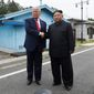 President Donald Trump meets with North Korean leader Kim Jong-un at the border village of Panmunjom in the Demilitarized Zone, South Korea, Sunday, June 30, 2019. (AP Photo/Susan Walsh) **FILE**