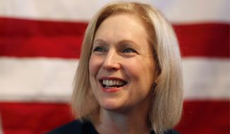 In this July 12, 2019, file photo, Democratic presidential candidate Sen. Kirsten Gillibrand, D-N.Y., speaks at a town hall meeting during a campaign stop in Bloomfield Hills, Mich. Plagued by anemic polling and fundraising, many 2020 Democratic presidential campaigns have fallen into a spiral of perceived struggles that become increasingly self-fulfilling. That includes Gillibrands championing of womens rights, Washington Gov. Jay Inslees focus on climate change and former Colorado Gov. John Hickenloopers pitch as a principled moderate. (AP Photo/Carlos Osorio, File)