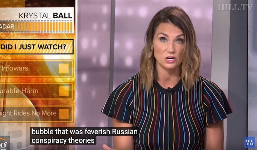 "Former MSNBC host Krystal Ball discusses the network's fascination with Russia and ""conspiracy theories"" she says her old colleagues linked with President Trump. (Image: YouTube, The Hill video screenshot)"