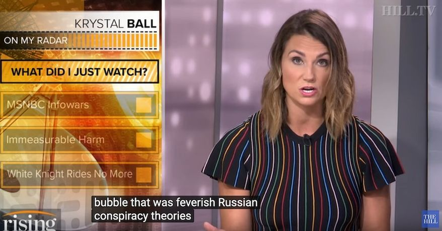 """Former MSNBC host Krystal Ball discusses the network's fascination with Russia and """"conspiracy theories"""" she says her old colleagues linked with President Trump. (Image: YouTube, The Hill video screenshot)"""