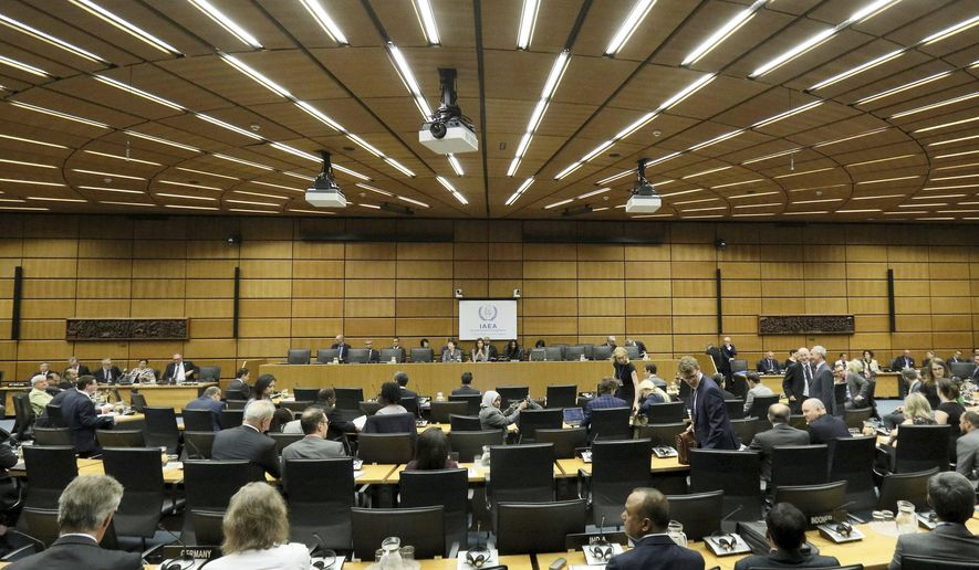 General view of the board of governors meeting for a tribute to the late Director General of the International Atomic Energy Agency, IAEA, Yukiya Amano of Japan at the International Center in Vienna, Austria, Thursday, July 25, 2019. The IAEA announced the death of the agency's Director General Yukiya Amano at the age of 72 years. (AP Photo/Ronald Zak)