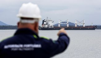 A Port Authority officer points at the Bavand, one of two stranded Iranian vessels, anchored at the port in Paranagua, Brazil, Thursday, July 25, 2019. Brazil's top court says state oil company Petrobras must supply fuel to two Iranian vessels that have been stranded off the coast of Parana state since early June. Petrobras has been refusing to provide fuel to the two vessels, arguing that they appear on a U.S. sanctions list and that the company would risk significant fines. (AP Photo/Giuliano Gomes)