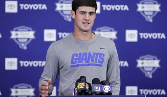 New York Giants' Daniel Jones responds to questions during a news conference at the NFL football team's training camp in Thursday, July 25, 2019, in East Rutherford, N.J. (AP Photo/Frank Franklin II)