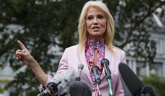 Counselor to the President Kellyanne Conway speaks to media outside the West Wing of the White House in Washington, Thursday, July 25, 2019. (AP Photo/Carolyn Kaster)