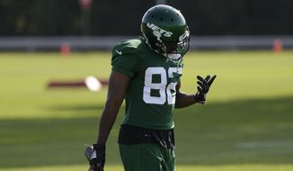 New York Jets' Jamison Crowder participates in a practice at the NFL football team's training camp in Florham Park, N.J., Friday, July 26, 2019. (AP Photo/Seth Wenig) **FILE**
