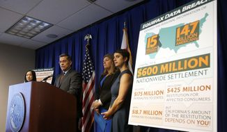 California Attorney General Xavier Becerra discusses the settlement reached with Equifax over a 2017 data breach, during a news conference in Sacramento, Calif., Monday, July 22, 2019. Equifax will pay up to $700 million to settle with the Federal Trade Commission, as well as 48 states, including California, over the data breach that exposed social security numbers and other private information of nearly 150 million people. (AP Photo/Rich Pedroncelli)