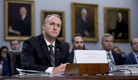In this July 25, 2019 file photo, Immigration and Customs Enforcement acting Director Matthew Albence appears before a Homeland Security Subcommittee oversight hearing on Capitol Hill in Washington. (AP Photo/Andrew Harnik, File)