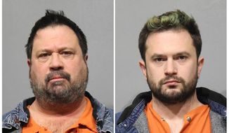 FILE - This combination of photos released by the Washtenaw County Jail, shows David Daniels, left, and William Scott Walters, in Ann Arbor, Mich. On Thursday, July 25, 2019, a grand jury in Texas indicted Daniels, a University of Michigan professor and renowned opera singer, and his husband Walters on one count of sexual assault for what prosecutors say was the rape of an incapacitated man in 2010.   (Washtenaw County Jail via AP, File)