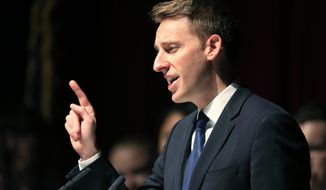 FILE - In this Nov. 9, 2016 file photo, Democrat Jason Kander concedes to Sen. Roy Blunt, R-Mo., during an election watch party at the Uptown Theater in Kansas City, Mo.   A rising star in Democratic politics who dropped out of the race for mayor of Kansas City, Missouri, to get help for post-traumatic stress and depression is re-emerging in public life. And while Jason Kander isn't ruling out another political run, he says it won't be anytime soon.  (AP Photo/Orlin Wagner)