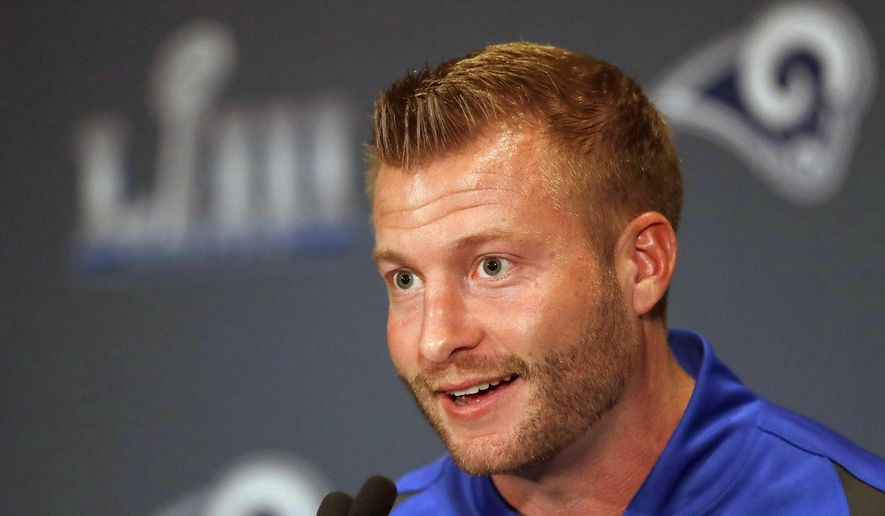 FILE - In this Jan. 30, 2019, file photo, Los Angeles Rams head coach Sean McVay speaks during a news conference ahead of the NFL Super Bowl 53 football game against the New England Patriots, in Atlanta. Coach Sean McVay and general manager Les Snead have agreed to contract extensions through 2023 with the Los Angeles Rams. The defending NFC champions announced the deal Friday, July 26, 2019, while veterans reported to training camp in Orange County. (AP Photo/John Bazemore, File)