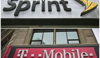 FILE - This combination of April 30, 2018, file photos shows signage for a Sprint store in New York's Herald Square, top, and signage at a T-Mobile store in New York U.S. regulators are approving T-Mobile's $26.5 billion takeover of rival Sprint, despite fears of higher prices and job cuts. (AP Photo/Bebeto Matthews, File)