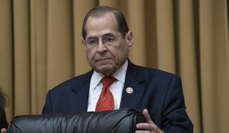 House Judiciary Committee Chair Jerrold Nadler, D-N.Y., arrives to hear former special counsel Robert Mueller testifies about his investigation into President Donald Trump and Russian interference in the 2016 election, on Capitol Hill in Washington, Wednesday, July 24, 2019. (AP Photo/J. Scott Applewhite)